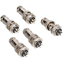 BQLZR plata Aviación Plug 4pines 16mm gx16–4metal macho hembra Panel conector 5unidades
