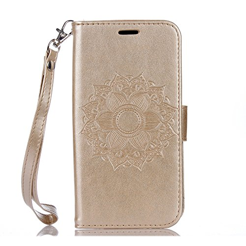 iPhone 6 Plus / 6S Plus Hülle, COOSTOREEU Mandala Blume PU Leder Brieftasche Stand Flip Case Cover für Apple iPhone 6 Plus / 6S Plus,Gold Gold