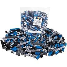 Strictly Briks - Set de ladrillos de construcción - 672 piezas sueltas - Compatible con todas las grandes marcas - Inspirado en el espacio - Negro, azul, gris y gris oscuro