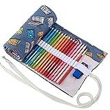 Amoyie - Tela wrap + astuccio in pvc, 2 pezzi, portamatite, sacchetto della matita per 72 matite colorate