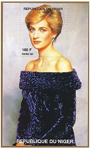 Princesse Diana portrait feuille de timbres pour les collectionneurs - 1 timbre sur une feuille miniature de la princesse de Galles / Niger / 1997