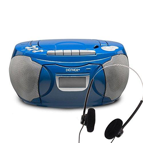 Boombox CD Player FM Radio Kinder Kassetten Spieler Tragegriff blau Kopfhörer