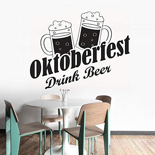 zqyjhkou Vinyl Wandaufkleber Oktoberfest Trinken Bier Wandtattoo Bar Restaurant Dekoration Vinyl Trinken Bier Fenster Wandbild Vinyl Kunst Ay1562 73x57 cm - Ken-bar