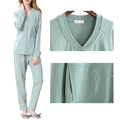 Dolamen Femme Pyjamas, Femmes Ensemble de Pyjama Hiver, 100% Coton Ensemble pyjama en, Manche Longue & Pantalon Longue avec les poches Vert