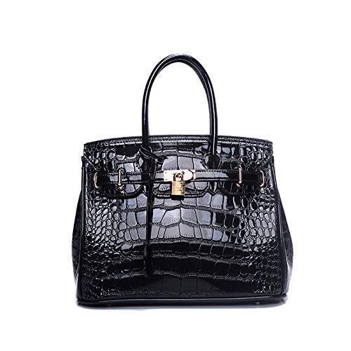 Tisdaini Damen Taschen Handtaschen Geldbeutel Krokodil Muster PU Patent Leder Klassische Elegante Luxus Schultertaschen Umhängetasche Frauen