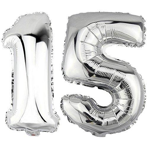 DekoRex® 15 als Folienballon Luftballon Zahlenballon Jahrestag Geburtstag in Silber 40cm hoch 15