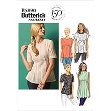 Butterick B5890 - Patrones de costura para confeccionar blusas y camisetas de mujer, 4 modelos