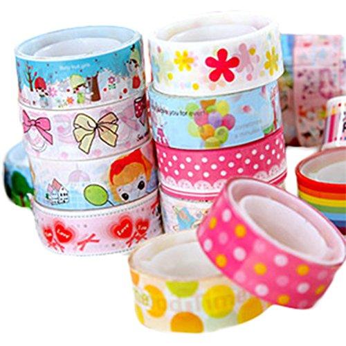 Westeng 5 Rolls Candy Farben Bänder Dekorative Masking Klebeband Regenbogen Sticky Papier Tape DIY Handwerk
