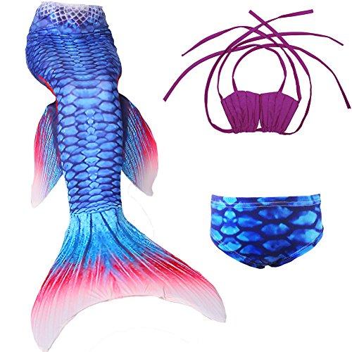 Das Beste Mädchen Meerjungfrauen Bikini Kostüm Meerjungfrau Schwimmanzug Badeanzüge Tankini (140, Muschel1), 140, Farbe: Muschel1