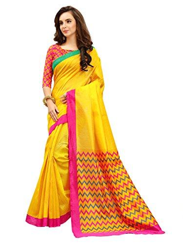 Glory Sarees Women's Silk Cotton Saree(zarna02_yellow)
