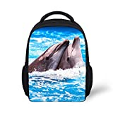 Wrail Kinder Rucksack Kindergarten 3D-Druck Tier Muster Rucksack Kindergartentasche Schultasche für Mädchen Junge Delphin EINE Size