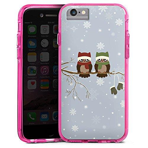 Apple iPhone 8 Bumper Hülle Bumper Case Glitzer Hülle Owl Eule Uhu Bumper Case transparent pink