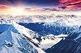 great-art Poster Alpen Panorama Gebirge - 140cm x 100cm XXL Wandposter Berge Naturlandschaft