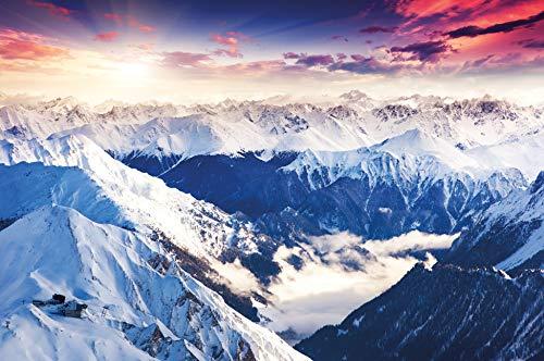 great-art Fototapete Alpen Panorama - 336 x 238 cm 8-teiliges Gebirge Wandbild Tapete Wandtapete