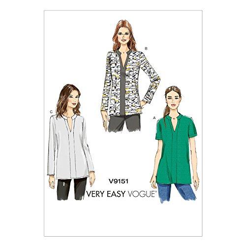Vogue Patterns Schnittmuster 9151 Y, Größen: XS bis M, Schnittmuster für Tunika, Mehrfarbig - Kontrast-joch