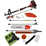 Trueshopping 33cc 33cc Petrol Multi Tool Long Reach Multi Function 5 In 1 Garden Tool Oregon Chain & Bar Including: Hedge Trimmer, Strimmer, Brush cutter, Chainsaw & Free Extension Pole 1.2KW/1.2HP