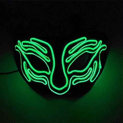 Dance Kostüm Tiger - WAZX Máscara Brillante Tiger Halbes Gesicht Leuchtende Maske EL Kaltlicht Maske Led Maske Halloween Weihnachtsdekoration Cosplay Dj Show Dance Karneval Ostern Party Maske I- Ordinary