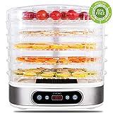 zociko Essiccatore, Essiccatore Alimenti, Essiccatore Professionale 5 Scomparti con Display LCD, Temperatura Regolabile(35 ° C-70 ° C)/500 W per Essicare Frutta Verdure Carne, BPA Free