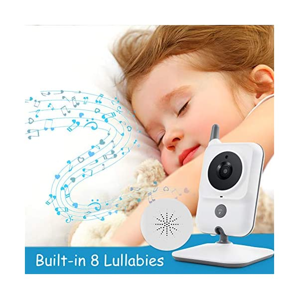 GHB Baby Monitor Video Baby Monitor with Camera 3.2 Inch Handheld Parent Unit Infrared Night Vision Room Temperature Display 2-Way Talk Baby Lullabies GHB Portable Parent Unit - with the wireless 3.2'' display, new parents can monitor their lovely baby clearly in the living room, kitchen or any place in the signal range Infrared Night Vision - you can keep eye on your baby at night in your bedroom and no need to go to the baby room, which avoids waking up your baby VOX Mode (power saving mode) - under VOX mode, if baby camera detects a sound over a certain threshold in the baby room, the video display will turn on automatically, and then will turn off when the baby room is silent to save the battery power 5