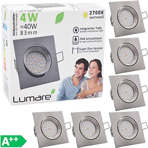 6x Lumare LED Slim Line Einbauspots IP44 4W eckig silber mit nur 27mm Einbautiefe