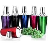 [Sponsored Products]Sharda Corporation Stainless Steel Cocktail Shakers, Mocktail Shaker, Drink Mixer, Cocktail Mixer Multipel Color 6-Piece Bar Set - Regular 28 Oz / 829 Ml (Red, Blue, Purple, Green, Pink, Black Color)