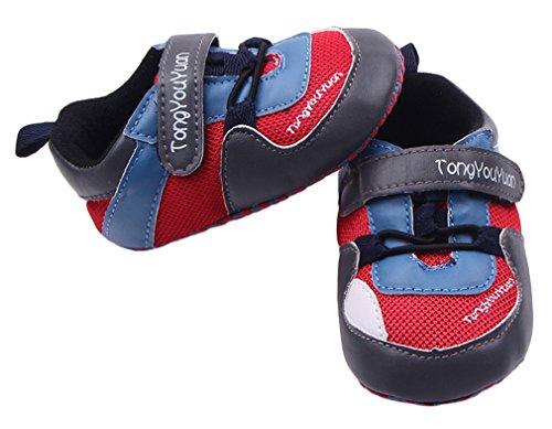Bigood Liebe Baby Junge Schuhe Krabbelschuhe Lauflernschuhe Rot