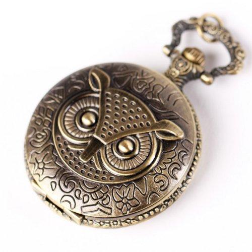 YESURPRISE Eule Damen Quarz Uhr Taschenuhr mit Halskette Kette Mode Schmuck Geschenk Xmas Gift pocket watch