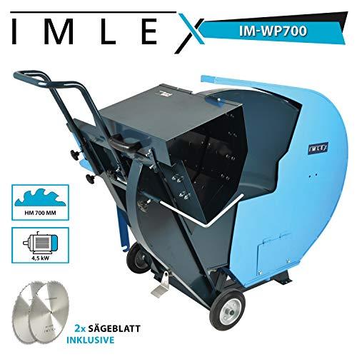 IMLEX Wippkreissäge 700 Wippsäge IM-WP/700 inkl. 2 x 700 mm Hartmetall -Sägeblatt für Brennholz Wippsäge mit Wippenverlängerung für Langes Schnittgut und Längenanschlag 4.5 KW Elektromotor