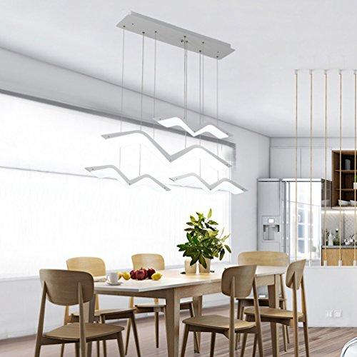 Dimmbar Minimalistische LED Pendelleuchte mattweiß Pendellampe Möwe Form Kreative Design Hängeleuchte Modern Esszimmerlampe Innenbeleuchtung Dekorative Personalisierte Acryl Lampeschirm, 4-flammig