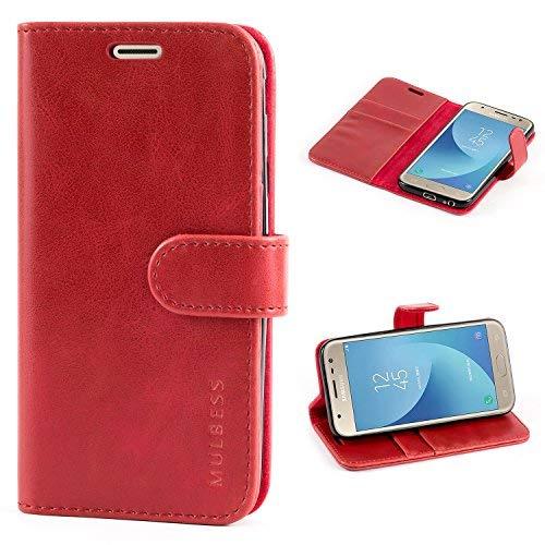 Mulbess Ledertasche im Ständer Book Case / Kartenfach für Samsung Galaxy J3 (2017) / J3 2017 Duos J330FD Tasche Hülle Leder Etui,Wein Rot