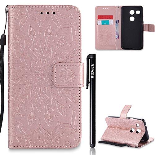 LG Nexus 5X Hülle Leder,LG Nexus 5X Flip Case,BtDuck Blume Tasche mit Magnetverschluss, Kartenfach Stand Cover für LG Nexus 5X Wallet - Rose Gold (Wallet 5 Nexus)