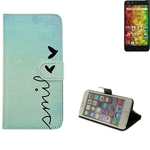 K-S-Trade® Für Medion Life X5001 Hülle Wallet Case Schutzhülle Flip Cover Tasche Bookstyle Etui Handyhülle ''Smile'' Türkis Standfunktion Kameraschutz (1Stk)