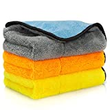 Favoto 840gsm Microfiber Cleaning Cloths Car Cleaning Towel 3 Packs Ultra Soft Rags Towels Super Fiber High Absorption of Humidity 3 Colors Gray Yellow Orange 38 * 43cm/15 * 17 inches