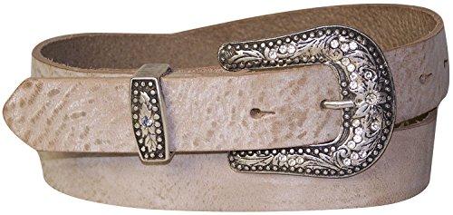Fronhofer cinturón de señora, Oeste, cinturón country,3 cm, hebilla con estrás brillante, cinturón de festival Coachella + Co 18172, Talla:cintura 100 cm, Color:crema