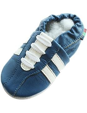 Carozoo - zapatillas azules, de piel, suela blanda, para bebés y niños, talla S