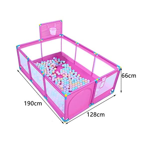 Pink Large Baby Playpen - Portable Infant Toddler Security Fance ,10-Panel Twins Ocean Ball Pool (Size : Playpen+200ball) Playpens  2
