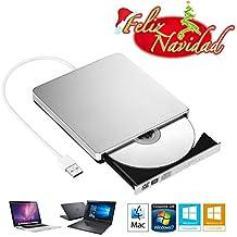 TopElek Grabadora DVD / CD Externa Lector Reproductor Portátil, TopElek Unidad USB Optico Externo para Macbook Pro, Apple Macbook, Macbook Air u otro Ordenador