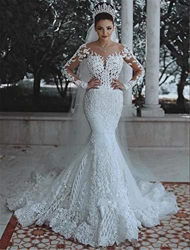 UNIQUE-F Ladies 'Long Fishtail Sexy Brautkleid White Floral Applique Tulle Lace Dreidimensionaler Schnitt Selbstanbau XXXL White Lace Floral Applique