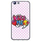 BJJ SHOP Transparent Hülle für [ Elephone S7 ], Klar Flexible Silikonhülle, Design: Emoticons mit pink Hintergrund, kiss me