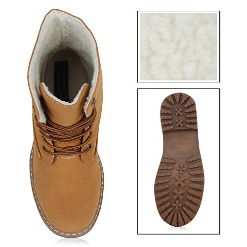 Stiefelparadies Warm Gefütterte Damen Stiefeletten Worker Boots Kunstfell Schuhe Flandell Hellbraun Autol