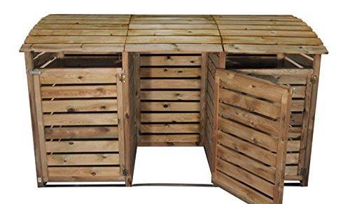 Mülltonnenbox aus Holz, Mülltonnenverkleidung – dreifach (für 3 Tonnen bis 240 Liter), wetterfest und somit ideal für draußen / Outdoor geeignet - 6