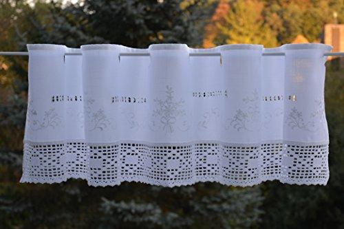 Scheibengardine mit gehäkelter Spitze Bistrogardine Häkelkante Panneaux Kurzstore Ösen Landhaus Spitze Shabby ca. 30x150 cm Weiß -
