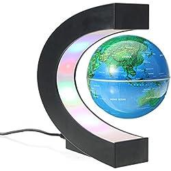 MECO Globos Terráqueos Flotante de Levitación Magnética Electrónica LED Luz Mapa Mundial Giratorio para la Decoración de Casa Educación Navidad Azul Marino