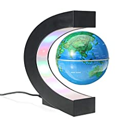 Idea Regalo - MECO Mappamondo Magnetico 3 Pollici Globo Magnetico Levitazione Elettronico Luce LED Decorazione Della Casa Ufficio Regali d'affari Studente Educazione Lampadina Blu Marino