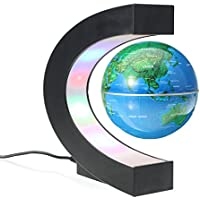 MECO Globos Terráqueos Mapa Mundial Levitación Magnética Electrónica Flotante LED Luz Giratorio para la Decoración de Casa Educación Regalo de Negocios Oficina Azul