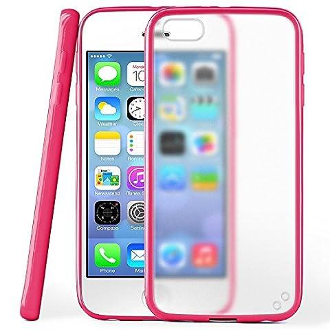 iPhone 5S Hülle Slim Transparent Pink [OneFlow Impact Back-Cover] Dünn Schutzhülle Silikon Handy-Hülle für iPhone 5/5S/SE Case TPU Tasche Matt