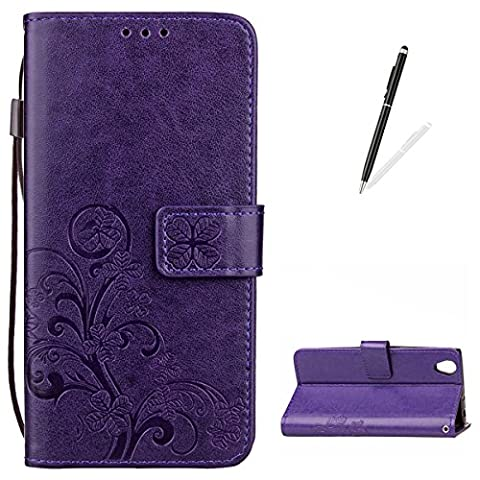 KaseHom SONY Xperia L1 Leather Case [Free 2 in 1 Black Stylus Pen], Elegant Embossed [Four Leaf Clover] Pattern Design Flip Magnetic Wallet Cover with Functional Stand Money Pouch and Wrist Strap Slim Flexible Bumper Durable PU Leather Protective Skin Folio Bookstyle for SONY Xperia L1 Holster Shell - Purple