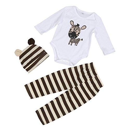 Baby Set SUCES Jungen Mädchen Bekleidung Karikatur Drucken Tops O-Ausschnitt Bluse Lange Ärmel Sweatshirt + Streifen Hose Krabbelhose + Hut 3 Stück Outfit Set (80, Kaffee)