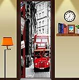 Fqz93in Aufkleber Der Tür 3D New York Street Bus Wandtattoo Selbstklebende PVC Aufkleber Wandtattoo Von Wand Tapeten