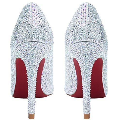 HooH Femmes Escarpins Bling Diamants bout pointu Semelle rouge Talons hauts Et Ballerines Mariage Chaussures Argent